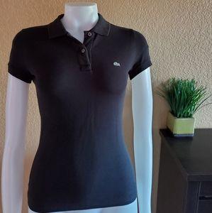 Lacoste Polo Shirt Top sz 36 XS black